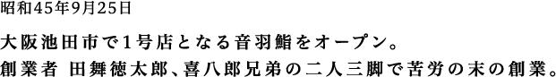 昭和45年9月25日 大阪池田市で1号店となる音羽鮨をオープン。